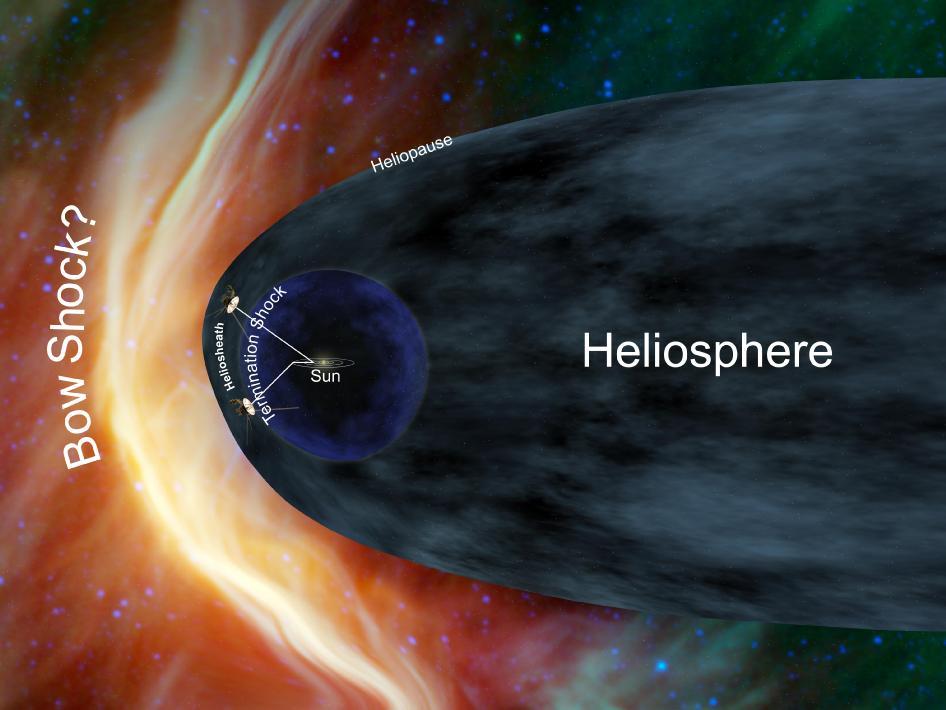 Concep��o art�stica da sonda Voyager 1 quase saindo do sistema solar