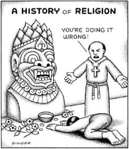 Religioso crist�o repreende seguidor de outra religi�o dizendo que ele est� errado.