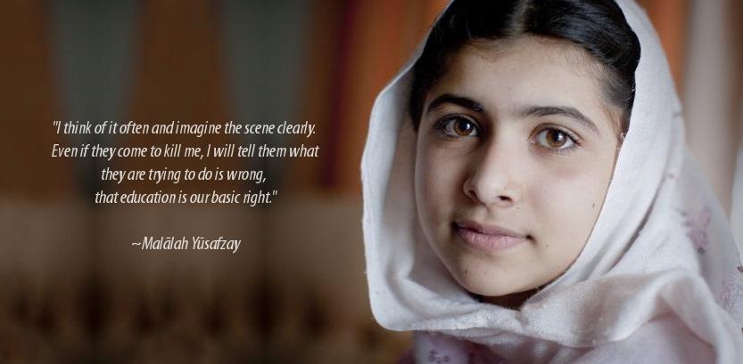 Foto de Malala e uma cita??o sua